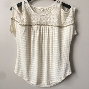 Anthropologie Pure + Good Striped Eyelet Lace Top
